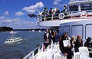 DEU, Germany, Cologne, Corpus Christi ship ..procession Muelheimer Gottestracht on the river Rhine.....DEU, Deutschland, Koeln, Fronleichnams-Schiffsprozession Muelheimer Gottestracht auf dem Rhein..... ..