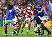 Japan lock Luke Thompson during the Rugby World Cup Pool B match between Samoa and Japan at stadium:mk, Milton Keynes, England on 3 October 2015. Photo by David Charbit.