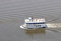 Aerial of the Becky Thatcher Cruise Boat on the Connecticut River at Chester, it connects to Essex Steam Train at Deep River, CT.