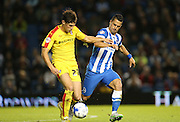 Rotherham United midfielder Joe Newell and Brighton central midfielder, Beram Kayal during the Sky Bet Championship match between Brighton and Hove Albion and Rotherham United at the American Express Community Stadium, Brighton and Hove, England on 15 September 2015.