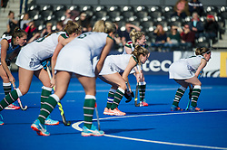 Surbiton line up at a penalty corner. Holcombe v Surbiton - Investec Women's Hockey League Final, Lee Valley Hockey & Tennis Centre, London, UK on 23 April 2017. Photo: Simon Parker