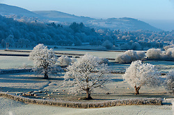 © Licensed to London News Pictures. 29/12/2016.. Wye Valley, Powys, Wales, UK. Very cold and frosty in the Wye Valley near Builth Wells, Powys, Wales at daybreak with temperatures dropping to approximately minus five degrees centigrade last night. Photo credit: Graham M. Lawrence/LNP