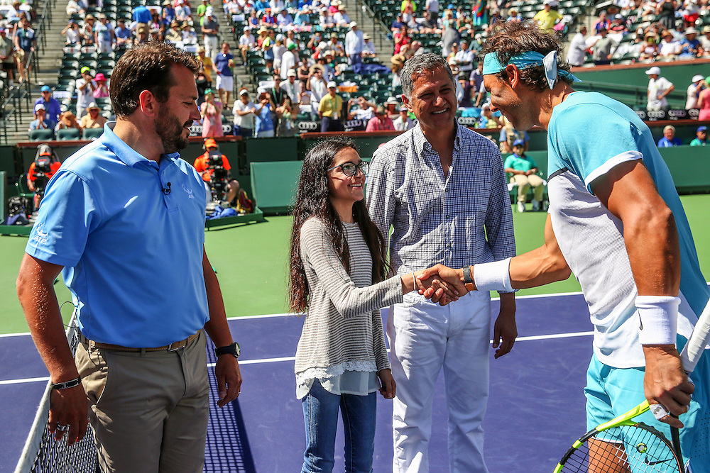 March 19, 2016, Palm Springs, CA:<br /> Coin toss before the men's semi-final match between Novak Djokovic and Rafael Nadal during the 2016 BNP Paribas Open at the Indian Wells Tennis Garden in Indian Wells, California Saturday, March 19, 2016.<br /> (Photos by Billie Weiss/BNP Paribas Open)