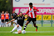 Reuben Reid (33) of Exeter City on the attack during the EFL Sky Bet League 2 match between Exeter City and Lincoln City at St James' Park, Exeter, England on 19 August 2017. Photo by Graham Hunt.