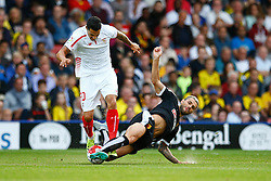 Daniel Tozser of Watford tackles Vitolo of Sevilla - Mandatory by-line: Jason Brown/JMP - Mobile 07966 386802 31/07/2015 - SPORT - FOOTBALL - Watford, Vicarage Road - Watford v Sevilla - Pre-Season Friendly
