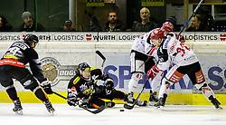 13.01.2017, Messestadion, Dornbirn, AUT, EBEL, Dornbirner Eishockey Club vs HC TWK Innsbruck Die Haie, 43. Runde, im Bild v. l. James Arniel, (Dornbirner Eishockey Club, #09), Philip Siutz, (Dornbirner Eishockey Club, #14), Benedikt Schennach, (HC TWK Innsbruck, #41) und Mario Lamourex, (HC TWK Innsbruck, #90) // during the Erste Bank Icehockey League 43th round match between Dornbirner Eishockey Club and HC TWK Innsbruck Die Haie at the Messestadion in Dornbirn, Austria on 2017/01/13, EXPA Pictures © 2017, PhotoCredit: EXPA/ Peter Rinderer