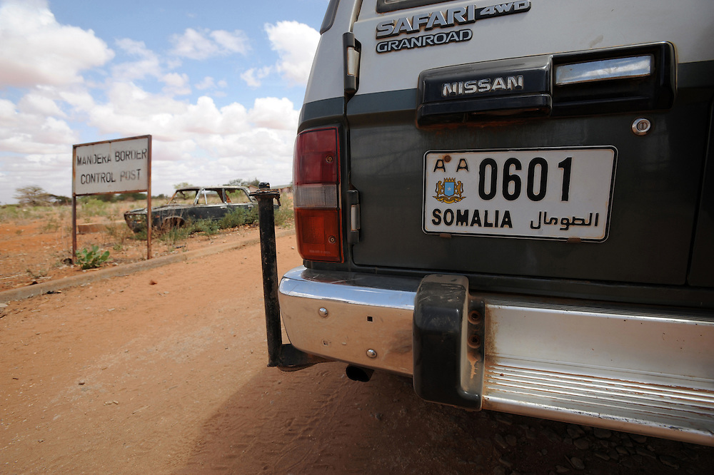 A Somali number plate on a land cruiser on the Kenyan-Somali border at Mandera 27/6/2008