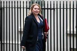 © Licensed to London News Pictures. 05/12/2017. London, UK. Secretary of State for Digital, Culture, Media and Sport Karen Bradley arriving in Downing Street to attend a Cabinet meeting this morning.Yesterday, Brexit negotiations on the Northern Ireland border were stalled when Arlene Foster of the DUP said she could not support commitment to keep Northern Ireland aligned with EU laws. Photo credit : Tom Nicholson/LNP