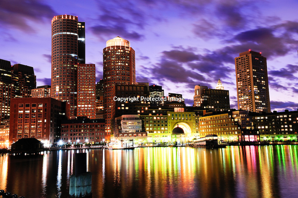 Boston Skyline seen from the harbor.