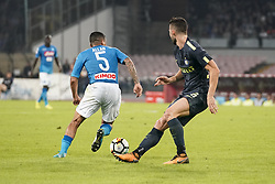 October 21, 2017 - Napoli, Napoli, Italy - Naples - Italy 21/10/2017.MARQUES LOUREIRO ALLAN of  S.S.C. NAPOLI  and ROBERTO GAGLIARDINI  of  Inter  fights for the ball during Serie A  match between S.S.C. NAPOLI and Inter  at Stadio San Paolo of Naples. (Credit Image: © Emanuele Sessa/Pacific Press via ZUMA Wire)