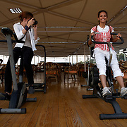 Egypt, Luxor. October/27/2008...Fun with Nile cruise boat exercise equipment.