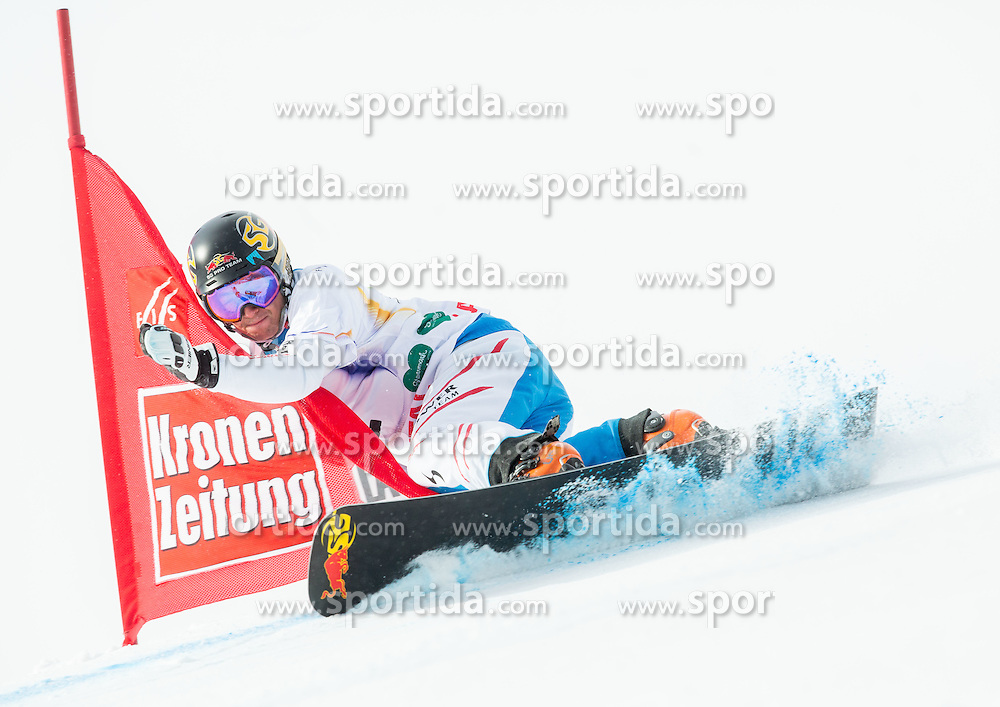 Lukas Mathies of Austria competes during 1/8 Finals of the Men's Parallel Giant Slalom at FIS World Championships of Snowboard and Freestyle 2015, on January 23, 2015 at the WM Piste in Lachtal, Austria. Photo by Vid Ponikvar / Sportida