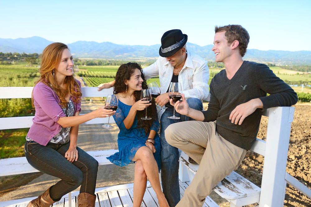 Group of people on Lookout tower at Roxy Ann Winery, Medford, Oregon, USA<br /> Model release 0246, 0248, 0250, 0251