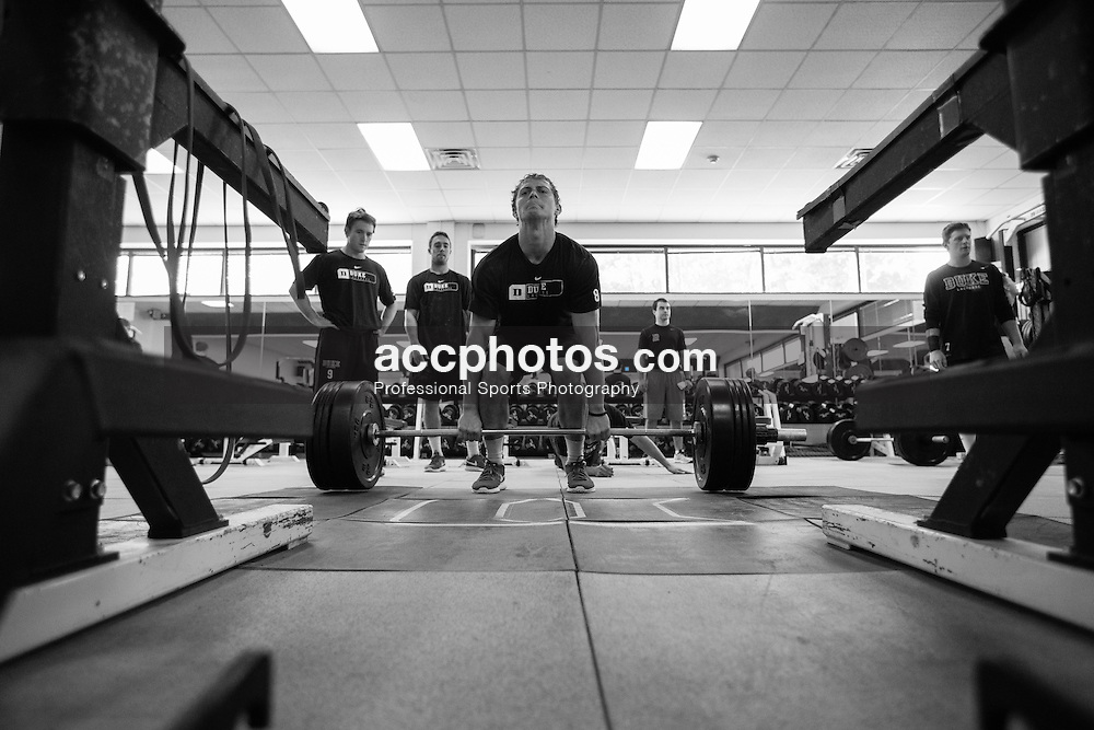 2015 October 15: Jack Bruckner #08 of Duke Blue Devils during weightlifting at Duke University in Durham, NC.