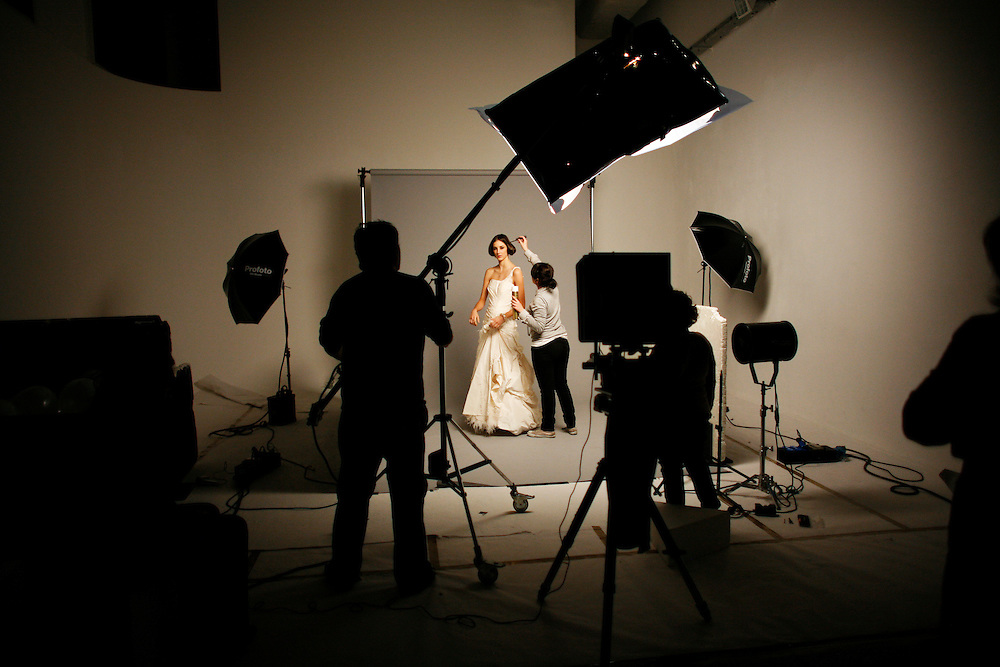 """Wednesday March 5th 2008.  .Issy les Moulineaux (Hauts de Seine), France.In the photo studios of the press group Marie-Claire (During a shoot for the magazine """"Mariages"""").."""