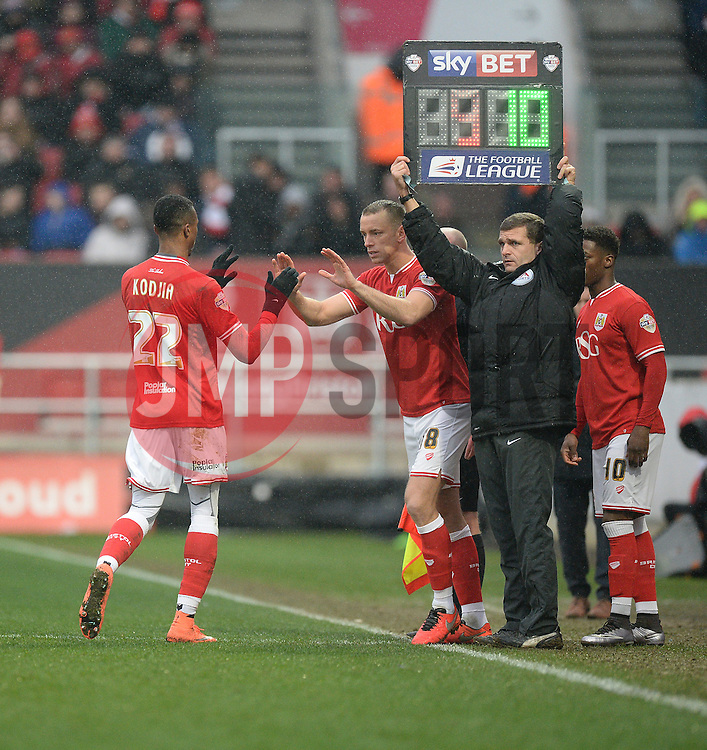 Jonathan Kodjia of Bristol City comes off for Aaron Wilbraham of Bristol City - Mandatory byline: Alex James/JMP - 13/02/2016 - FOOTBALL - Ashton Gate - Bristol, England - Bristol City v Ipswich Town - Sky Bet Championship