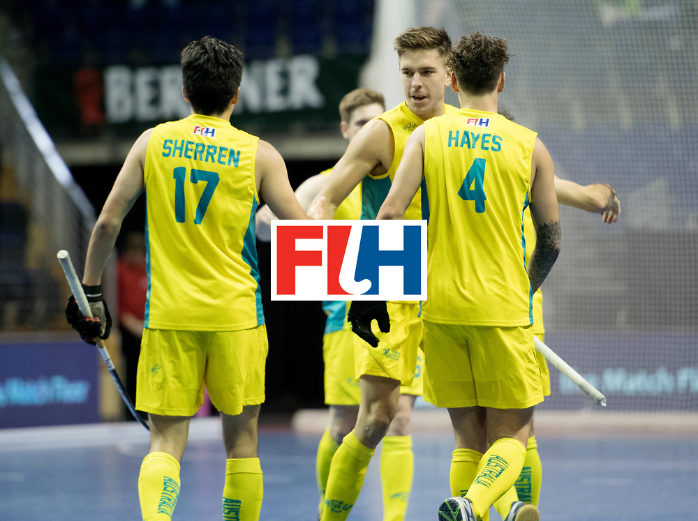 BERLIN - Indoor Hockey World Cup<br /> Quarterfinal 4: Australia - Belgium<br /> foto: Australia celebrate.<br /> WORLDSPORTPICS COPYRIGHT FRANK UIJLENBROEK