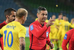 Senijad Ibričić of Domzale and Damir Skomina before football match between NK Maribor and NK Domzale in 17th Round of Prva liga Telekom Slovenije 2019/20, on November 9, 2019 in Ljudski vrt, Maribor, Slovenia. Photo by Milos Vujinovic / Sportida