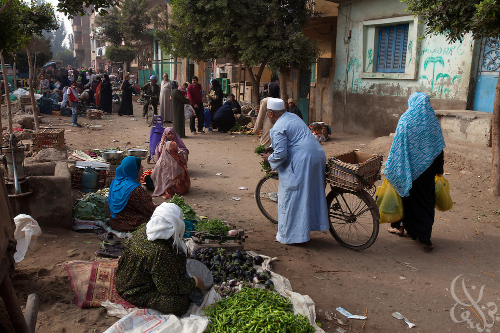 Villagers shop in the weekly Thursday vegetable souk October 27, 2011  in village of Warwara. Warwara is located just outside the Delta town of Benha, about 50 kilometers north of Cairo. (Photo by Scott Nelson)