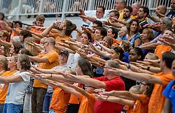 28-08-2016 NED: Nederland - Slowakije, Nieuwegein<br /> Het Nederlands team heeft de oefencampagne tegen Slowakije met een derde overwinning op rij afgesloten. In een uitverkocht Sportcomplex Merwestein won Nederland met 3-0 van Slowakije / support publiek Oranje