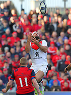 Jean-Marc Doussain of Stade Toulousain jumps for the ball during the European Rugby Champions Cup match at Thomond Park, Limerick<br /> Picture by Yannis Halas/Focus Images Ltd +353 8725 82019<br /> 01/04/2017