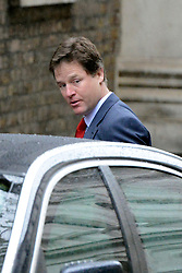 © Licensed to London News Pictures. 01/05/2012. London, UK . Deputy Prime Minister Nick Clegg arrives on Downing Street. Cabinet ministers in Downing Street for the Cabinet Meeting on 1st May 2012. Photo credit : Stephen Simpson/LNP