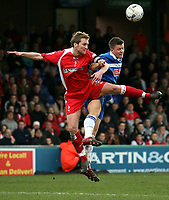 Photo: Paul Thomas.<br /> Stockport County v Swindon Town. Coca Cola League 2. 03/03/2007.<br /> <br /> Jamie Vincent (L) of Swindon challenges Antony Pilkington.