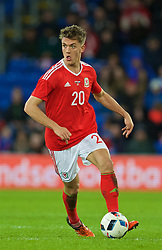 CARDIFF, WALES - Friday, November 13, 2015: Wales' Emyr Huws in action against the Netherlands during the International Friendly match at the Cardiff City Stadium. (Pic by David Rawcliffe/Propaganda)