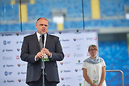Chorzow, Poland - 2018 June 12: Andrzej Mysliwiec speaks while Closing Ceremony of National Special Olympics Games 2018 at Slaski Stadium on June 12, 2018 in Chorzow, Poland.<br /> <br /> Adam Nurkiewicz declares that he has no rights to the image of people at the photographs of his authorship.<br /> <br /> Picture also available in RAW (NEF) or TIFF format on special request.<br /> <br /> Any editorial, commercial or promotional use requires written permission from the author of image.<br /> <br /> Image can be used in the press when the method of use and the signature does not hurt people on the picture.<br /> <br /> Mandatory credit:<br /> Photo by © Adam Nurkiewicz / Mediasport