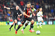 Marc Pugh (7) of AFC Bournemouth on the attack during the EFL Cup 4th round match between Bournemouth and Norwich City at the Vitality Stadium, Bournemouth, England on 30 October 2018.