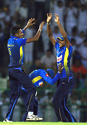 October 23, 2018 - Colombo, Sri Lanka - Sri Lankan cricketer Dushmantha Chameera celebrates after taking a wicket during the 5th One Day International cricket match between Sri Lanka and England at the R Premadasa International Cricket Stadium, Colombo,  Sri Lanka. Tuesday 23 October 2018  (Credit Image: © Tharaka Basnayaka/NurPhoto via ZUMA Press)