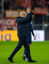 MUNICH, GERMANY - Wednesday, December 11, 2019: Tottenham Hotspur's manager José Mourinho applauds the supporters after the final UEFA Champions League Group B match between FC Bayern München and Tottenham Hotspur FC at the Allianz Arena. Bayern Munich won 3-1. (Pic by David Rawcliffe/Propaganda)