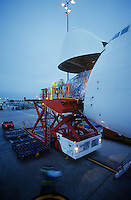 Freight loading onto Boeing 747 cargo aircraft Melbourne Australia