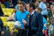 Bradford City Manager Gary Bowyer speaks with referee Leigh Doughty during the EFL Sky Bet League 2 match between Bradford City and Northampton Town at the Utilita Energy Stadium, Bradford, England on 7 September 2019.