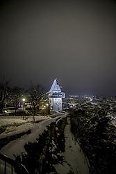 24.02.2018, Schloßberg, Graz, AUT, Graz im Winter, im Bild eine Panorama Ansicht des verschneiten Graz vom Schlossberg bei Nacht, EXPA Pictures © 2018, PhotoCredit: EXPA/ Erwin Scheriau