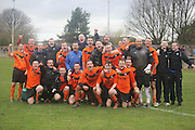Cranhill celebrate after reaching the Scottish Cup final - Fairfield (blue) v Cranhill (Tangerine) - Fosters Scottish Sunday Cup Semi Final North End Park<br /> <br />  - &copy; David Young - www.davidyoungphoto.co.uk - email: davidyoungphoto@gmail.com