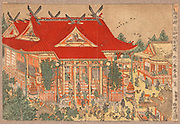A view of Shiba Shinmei Shrine: c1775-1781.  Utagawa Toyoharu (1735-1814) Japanese Ukiyo-e artist. Scene of people entering the shrine and of the shops in the streets around the shrine situated south of Tokyo, Japan.