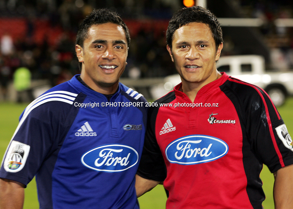 Brothers John (L) and Kevin Senio catch up after opposing eachother during the Rebel Sport Super 14 game between the Crusaders and the Blues at Jade Stadium, Christchurch, New Zealand on Saturday 4 March 2006. The Crusaders won the match 39-10. Photo: Tim Hales/PHOTOSPORT<br /><br /><br />148300