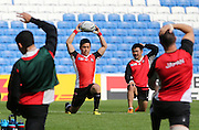 Keisuke Sawaki of Japan warming up during the Japan Captain's Run training session in preparation for the Rugby World Cup at the American Express Community Stadium, Brighton and Hove, England on 18 September 2015.