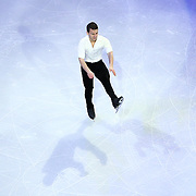 Max Aaron is seen during the Smucker's Skating Spectacular at the TD Garden on January 12, 2014 in Boston, Massachusetts.