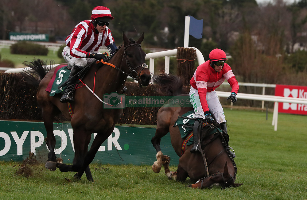Paloma Blue ridden by Mark Walsh (left) clears the last, as Paul Townend is unseated by Real Steel, on the way to winning the Paddy Power 'Live Stream All Irish Racing On Our App' Beginners Steeplechase during day two of the Leopardstown Christmas Festival at Leopardstown Racecourse.