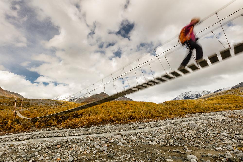 Shaky suspension bridge as hiker crosses over Gulkana River  in Interior Alaska. Autumn. Morning.