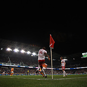 Thierry Henry, New York Red Bulls, takes a corner during the New York Red Bulls V Houston Dynamo, Major League Soccer second leg of the Eastern Conference Semifinals match at Red Bull Arena, Harrison, New Jersey. USA. 6th November 2013. Photo Tim Clayton
