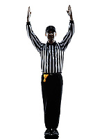 american football referee touchdown gestures in silhouette on white background
