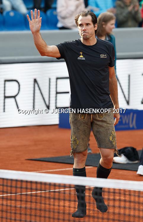 TOMMY HAAS winkt zum Abschied,traeg eine Lederhose,<br /> <br /> <br /> Tennis - BMW Open2017 -  ATP  -  MTTC Iphitos - Munich -  - Germany  - 3 May 2017.