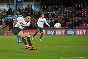 John O'Sullivan (18) of Bury takes long range shot at goal during the Sky Bet League 1 match between Scunthorpe United and Bury at Glanford Park, Scunthorpe, England on 19 April 2016. Photo by Ian Lyall.