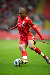 LIVERPOOL, ENGLAND - Thursday, May 5, 2011: Liverpool's David Ngog in action against Manchester United during the FA Premiership Reserves League (Northern Division) match at Anfield. (Photo by David Rawcliffe/Propaganda)