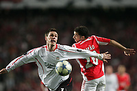 Photo: Lee Earle.<br /> Benfica v Liverpool. UEFA Champions League. 2nd Round, 1st Leg. 21/02/2006. Liverpool's Steve Finnan gets ahead of Simao.