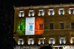 Italian flag is projected on the parliament building in solidarity with Italy, over the coronavirus (COVID-19) pandemic, in Athens, Greece, April 3, 2020.<br /> <br /> Dimitris Lampropoulos  | 3 April 2020