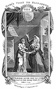 Virgin Mary  visiting her cousin Elizabeth who calls out 'Blessed art thou among women' on learning that Mary is pregnant with the son of God. 'Bible' Luke 1.42.  Copperplate engraving c1808.
